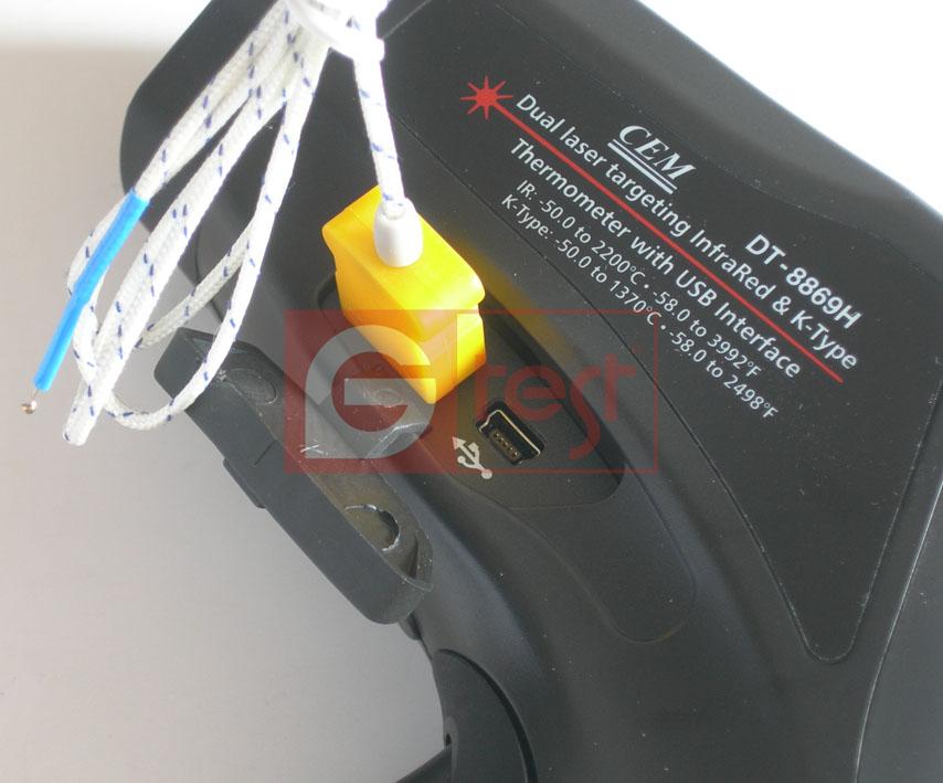 Подключение термопары к пирометру модели DT8867H, DT8868H, DT8869H