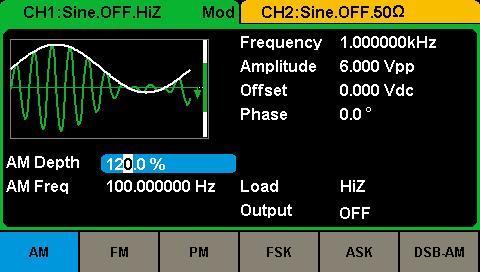 Генератор Siglent SDG2082X: Генерация модулированных сигналов
