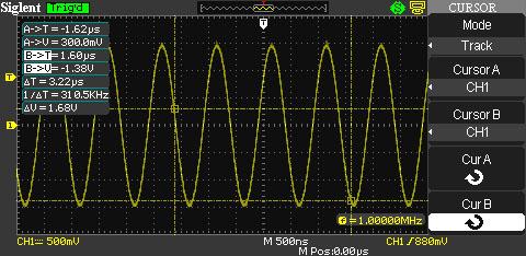 осциллограф Siglent SDS1072CNL: курсорные измерения