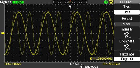 осциллограф Siglent SDS-1072CML: функция послесвечения
