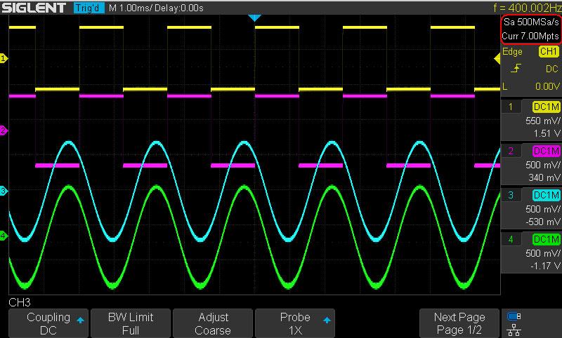 скорость выборки 500 МВ/с в режиме 4 канала.