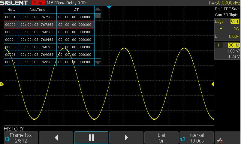Функция записи событий осциллографом SDS1104X-E