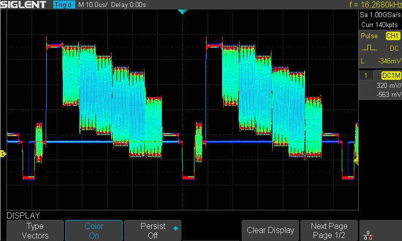Частота обновления той или иной формы сигнала определяет цвет, чем выше частота тем горячее цвет