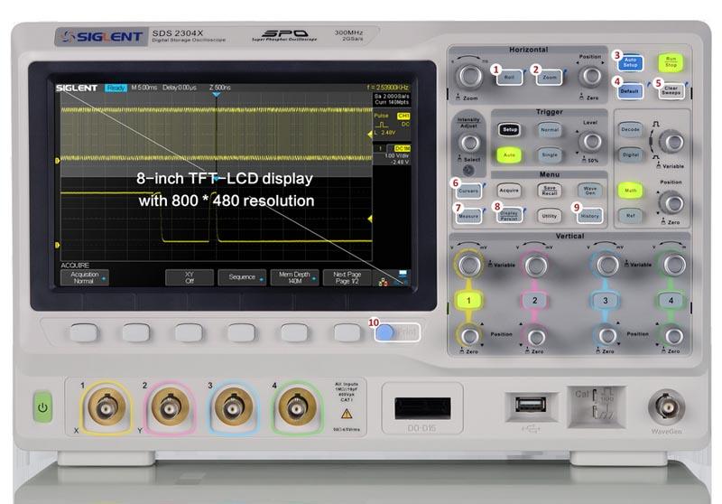 внешний вид (фронтальный) осциллографа SDS2000х